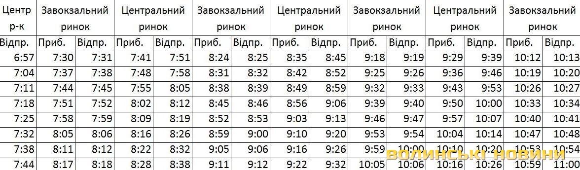 график маршруток: