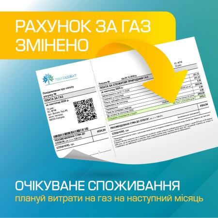 «Очікуване споживання» в рахунку за газ – можливість планувати свої витрати*